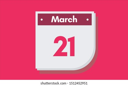 March 21th calendar icon. Day 21 of month. Vector illustration.