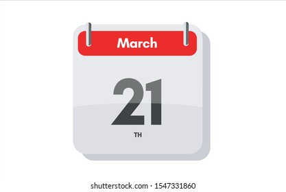 March 21th calendar icon. Day 21 of month. Vector icon illustration.