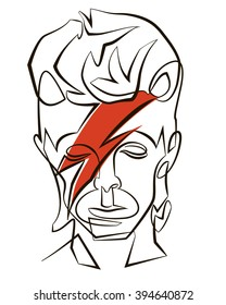March 22, 2016: A vector linear illustration of a portrait of singer David Bowie on a white background.