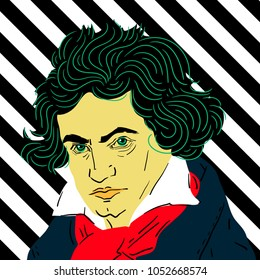 March 23, 2018: vector Illustration of Ludwig van Beethoven in pop art style.