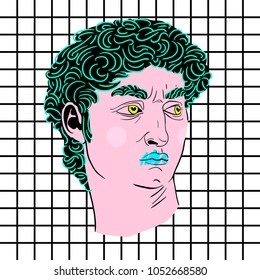 March 23, 2018: vector Illustration of David by Michelangelo in pop art style.