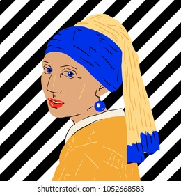 March 23, 2018: vector Illustration of Girl with a Pearl Earring by Johannes Vermeer in pop art style.
