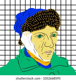 March 23, 2018: vector Illustration of Self-portrait with Bandaged Ear by Vincent van Gogh in pop art style.