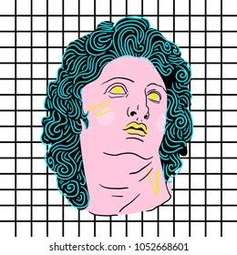 March 23, 2018: vector Illustration of Alexander the Great as Helios sculpture in pop art style.