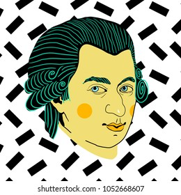 March 23, 2018: vector Illustration of Wolfgang Amadeus Mozart in pop art style.