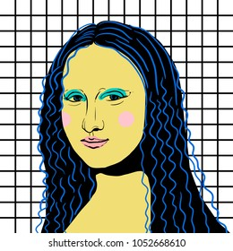 March 23, 2018: vector Illustration of Mona Lisa / Giocondo by Leonardo da Vinci in pop art style.