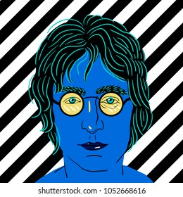 March 23, 2018: vector Illustration of John Winston Ono Lennon in pop art style.