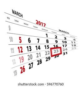 March 23, highlighted on 2017 calendar. Vector Illustration.