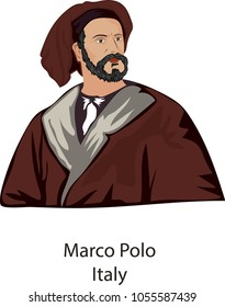 March 27, 2018, Illustration vector isolated of Marco Polo, Italy.