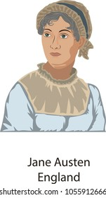 March 27, 2018, Illustration vector isolated of Jane Austen, England