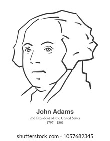 MARCH 28, 2018: Illustrative editorial portrait of John Adams, 2nd President of the United States in black and white