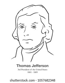 MARCH 28, 2018: Illustrative editorial portrait of Thomas Jefferson, 3rd President of the United States in black and white