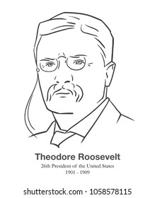 MARCH 28, 2018: Illustrative editorial portrait of Theodore Roosevelt, 26th President of the United States in black and white