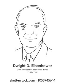 MARCH 28, 2018: Illustrative editorial portrait of Dwight D. Eisenhower, 34th President of the United States in black and white