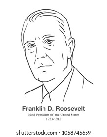 MARCH 28, 2018: Illustrative editorial portrait of Franklin D. Roosevelt, 32nd President of the United States in black and white