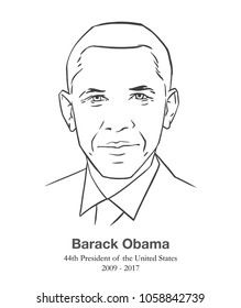 MARCH 28, 2018: Illustrative editorial portrait of Barack Obama, 44th President of the United States in black and white