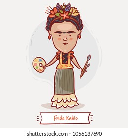 MARCH 28, 2018: A vector illustration of a portrait of Frida Kahlo with a palette and paintbrushes and flowers in her hair