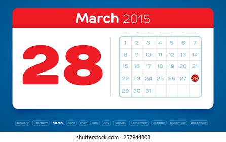 March 28, vector daily calendar, flat design, 2015