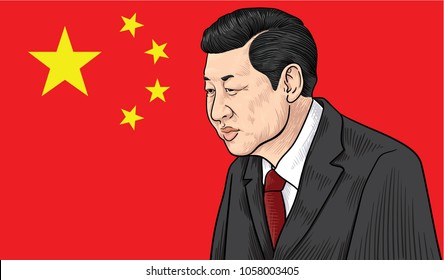 March 30, 2018: vector illustration of Xi Jinping portrait - the General Secretary of the Communist Party of China, the President of the People's Republic of China - on China flag.