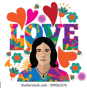 MARCH 31, 2016: Illustrative editorial pop art style drawing of John Lennon his hippie stage. With love graffiti style background. EPS 10 vector.