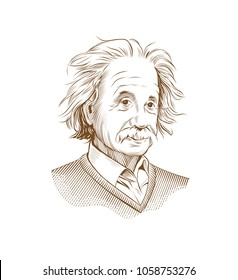 March 31, 2018: Portrait of Albert Einstein. Vector illustration. Editorial use only