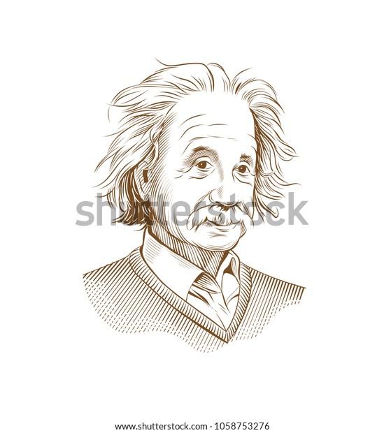 March 31, 2018: Portrait of Albert Einstein. Vector illustration. Editorial use only