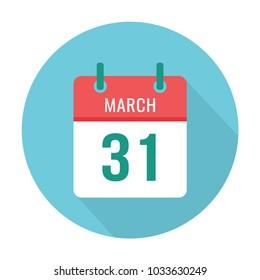 March 31 calendar icon flat. World Backup Day