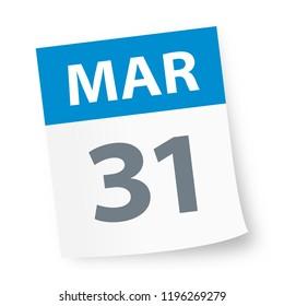 March 31 - Calendar Icon - Vector Illustration