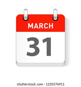 March 31 date visible on a page a day organizer calendar