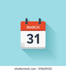 March 31.Calendar icon.Vector illustration,flat style.Date,day of month:Sunday,Monday,Tuesday,Wednesday,Thursday,Friday,Saturday.Weekend,red letter day.Calendar for 2017 year.Holidays in March.