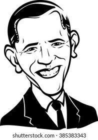 March 4, 2016: A caricature portrait of the 44th President of USA Barack Obama