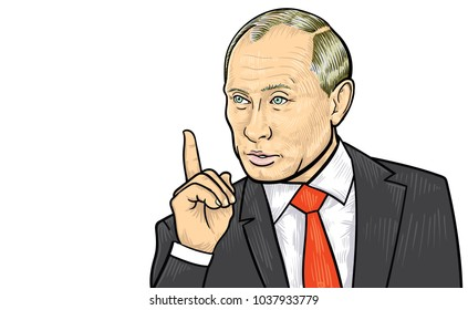 March 4, 2018: A vector illustration of a portrait of President Vladimir Putin