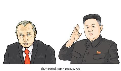 March 5, 2018: vector illustration of Vladimir Putin and Kim Jong-un portraits. Russia and North Korea relations.