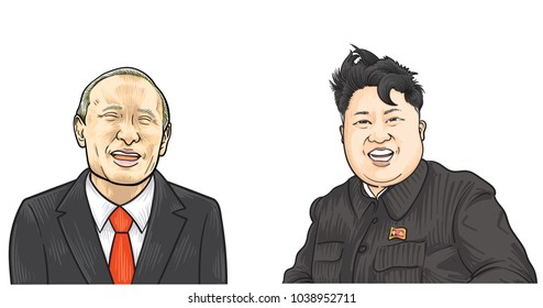 March 5, 2018: vector illustration of Vladimir Putin and Kim Jong-un portraits. Russia and North Korea relations.