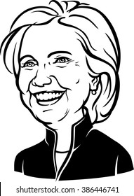 March 6, 2016: A Caricature Portrait of Democrat presidential candidate Hillary Diane Clinton on isolated background