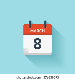 March 8. Calendar icon.Vector illustration,flat style.Date,day of month:Sunday,Monday,Tuesday,Wednesday,Thursday,Friday,Saturday.Weekend,red letter day.Calendar for 2017 year.Holidays in March.