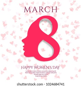 March 8 greeting card. Background for International Women's Day design