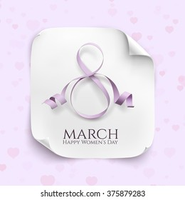 March 8 greeting card. Background template for International Womens Day. Vector illustration. White curved paper banner.purple