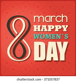 March 8 greeting card. Decorative background with 8 march happy women`s Day. Vector illustration