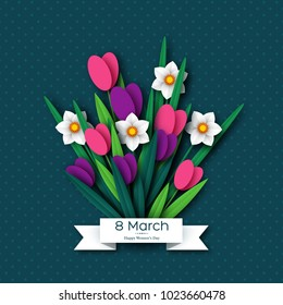 March 8 greeting card for International Womans Day. Paper cut tulips and narcissus . Vector illustration.