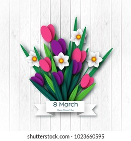 March 8 greeting card for International Womans Day. Paper cut tulips and narcissus, wood texture background. Vector illustration.