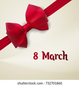 March 8. Greeting card template with red bowknot and ribbon. Ecard vector illustration.