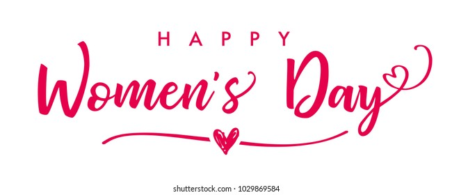 March 8, Happy Womens Day elegant lettering banner. Invitations for the International Women's Day, March 8 with calligraphic text and pink heart on line