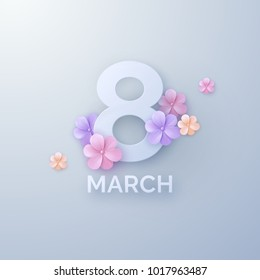 March 8. International Women Day. Vector spring holiday illustration. Paper cutout number eight with colorful flowers. Papercut style banner. Feminism concept. Floral decoration