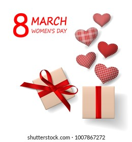 March 8 International Women's Day. Red heart cushions coming out of gift box. Top view. Vector illustration