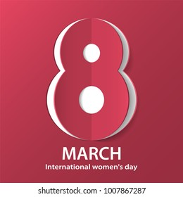 March 8 International Women's Day. Figure 8 cut out of paper. Greeting card template. Vector illustration