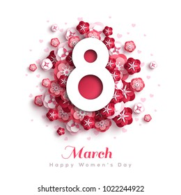March 8. International Women's day background. Greeting card, flyer or brochure template with paper cut flowers. Vector illustration.