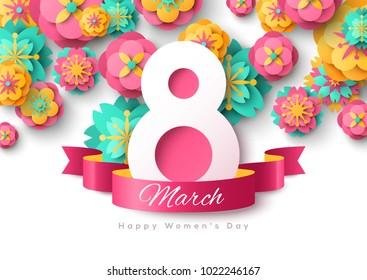 March 8. International Women's day background. Greeting card, flyer or brochure template with ribbon and paper cut flowers. Vector illustration.