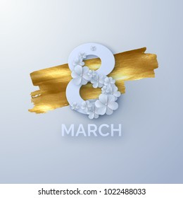 March 8. International Women's Day. Vector spring holiday illustration. Paper cutout number eight with white flower garland on golden paint background. Origami style banner. Feminism concept.