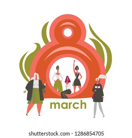 March 8 International Women's Day Feminism Fight for womens rights Greeting card festive poster banner with emancipated women of different ages Vector illustration